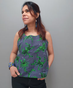 Top de tela africana estampada