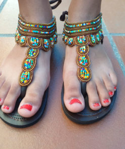 African pearl sandals