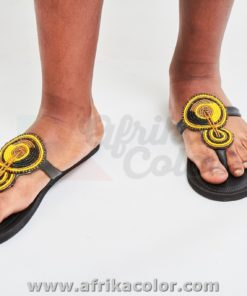 leather sandals and beads